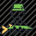 fish, fisher, fisherman, fishing icon