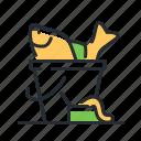 bait, bucket, fish, fishing haul icon