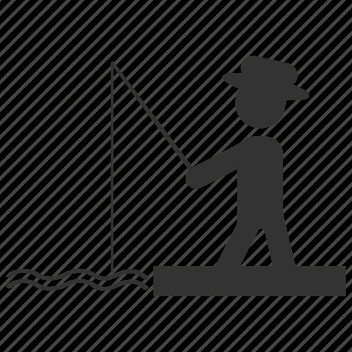 fish, fisherman, fishing, rod, travel icon