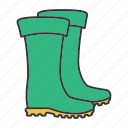boots, footwear, gumboots, protection, rubber, shoes, waterproof icon
