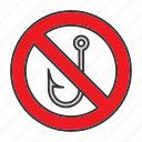 angle, angling, fish, fishhook, fishing, hook, stop icon