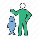 catch, fish, fisherman, fishing, haul, hobby, person icon