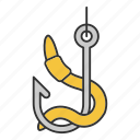 angling, bait, fishhook, fishing, hook, lure, worm icon