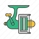 angling, fishing, gear, reel, rod, spinning, tackle icon