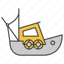 boat, coble, fisher, fishing, motorboat, sailboat, ship icon