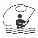 activity, angler, fisher, fisherman, fishing, rod, tackle icon