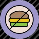 burger prohibition, burger restriction, food, no burger, no fast food, no junk food icon