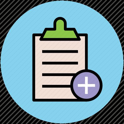 add to checklist, add to list, clipboard, diet chart, list, report icon