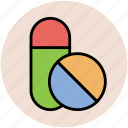 capsules, medical drugs, medications, medicine, pills, tablets icon