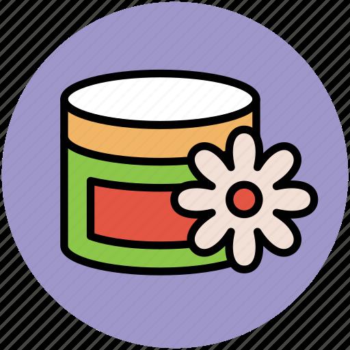 beauty cream, cosmetics, cream jar, spa cream, spa ointment icon