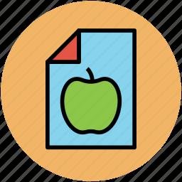 apple, diet chart, diet plan, dieting, healthy diet, sheet icon