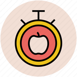 apple, chronometer, counter, stopwatch, time keeper, timer icon