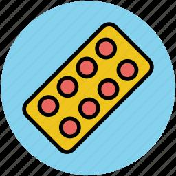 drugs, medical pills, medication, medicine, pills strip, tablets icon