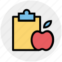apple, clipboard, diet chart, diet plan, fitness, healthy diet, list icon
