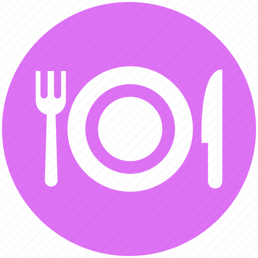 dinner, eating, fork, fork and knife, knife, plate, plate and fork n knife icon