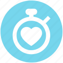 clock, fitness, health, heart, stopwatch, time, timer icon