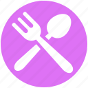 cutlery, dinner, eating, fork, fork and spoon, spoon icon