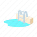 cartoon, ladder, pool, swim, swimming, water, wave icon
