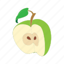apple, cartoon, food, fruit, half, healthy, nature icon