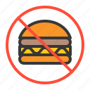 fitness, food, food control, forbidden, hamburger, prohibition, signaling icon
