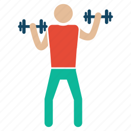 back, bicepworkout, bodybuilding, exercise, fitness, gym, weightlifter icon