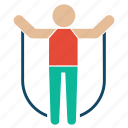 bodybuilder, fitness, gym, jumping, jumpingrope, rope, weightlifter icon