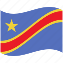 congo democratic republic of the, country, flag, national, world icon