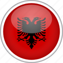 albania, circle, country, flag, national icon