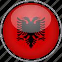 albania, circle, country, flag, national
