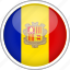 andorra, circle, country, flag, national icon