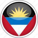 antigua and barbuda, circle, country, flag, national icon