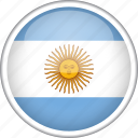 argentina, circle, country, flag, national