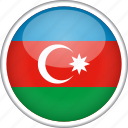azerbaijan, circle, country, flag, national icon