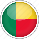 benin, circle, country, flag, national icon