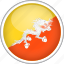 bhutan, circle, country, flag, national icon