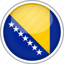 bosnia, circle, country, flag, national icon