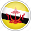 brunei, circle, country, flag, national icon