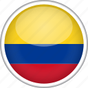 colombia, circle, country, flag, national icon