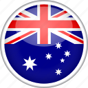 australia, circle, country, flag, national icon