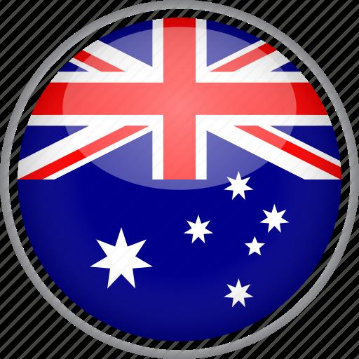 australia, circle, country, flag, national icon
