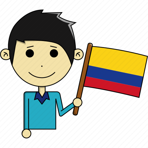 avatar, colombia, country, cute, flags, man, world icon