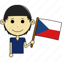 czech, country, flags, avatar, world, republic, man icon