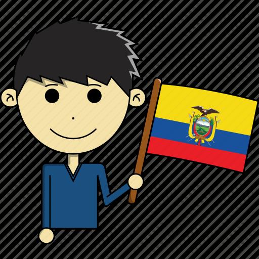 avatar, country, cute, ecuador, flags, man, world icon