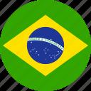 brazil, brasilian, brasil, country, flag, brazilian, circle icon
