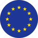 circle, country, eu, europe, european, flag, union icon