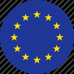 circle, country, eu, europe, european, flag, union icon