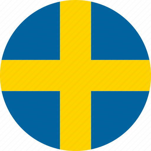 circle, country, flag, national, sverige, sweden, swedish icon