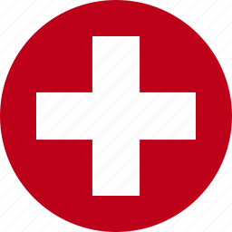 circle, cross, flag, red, suisse, swiss, switzerland icon