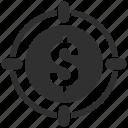 dollar, focus, target icon