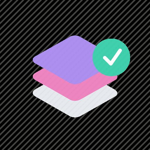 check, checkmark, layer, layers icon